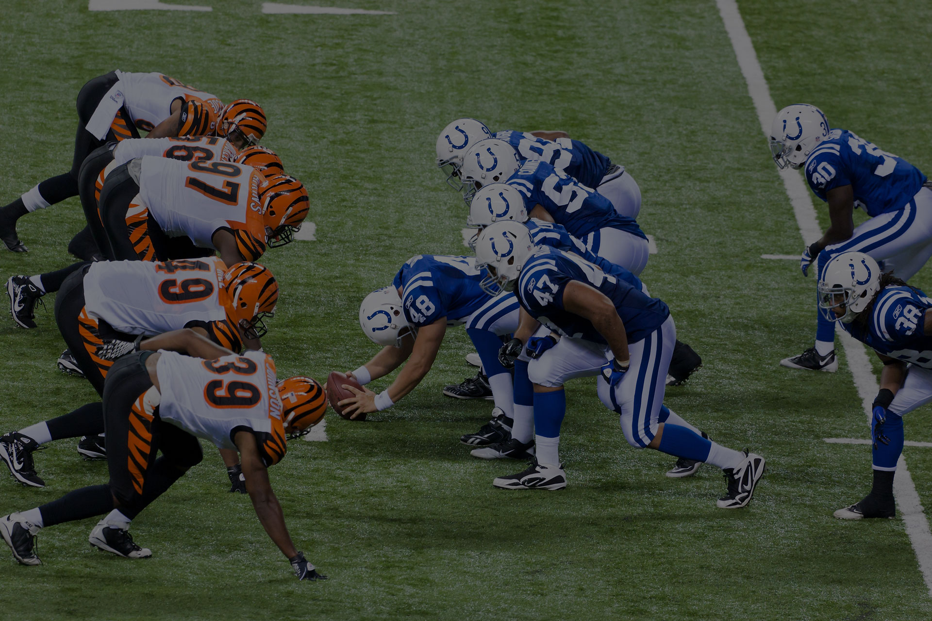 Bengals and Colts line-up during football game between Indianapolis Colts and Cincinnati Bengals on September 2,